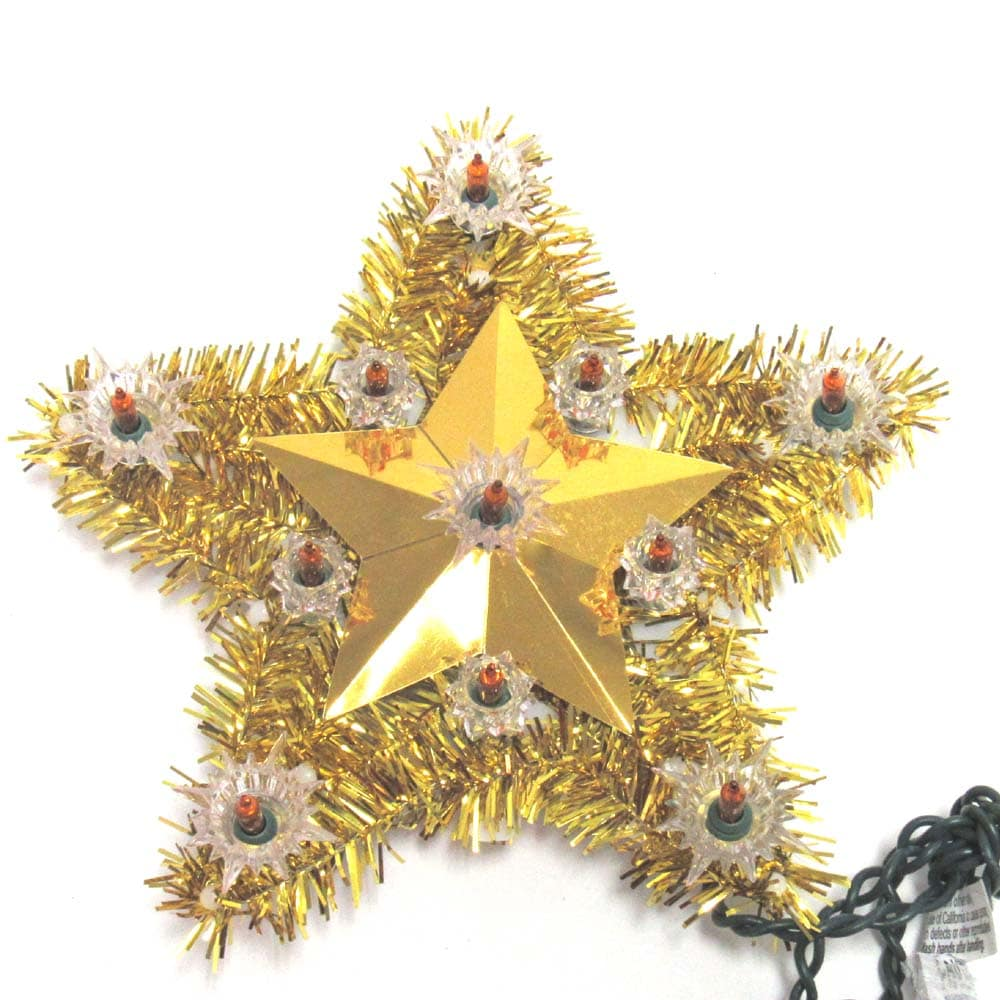 gold tinsel star tree toppers